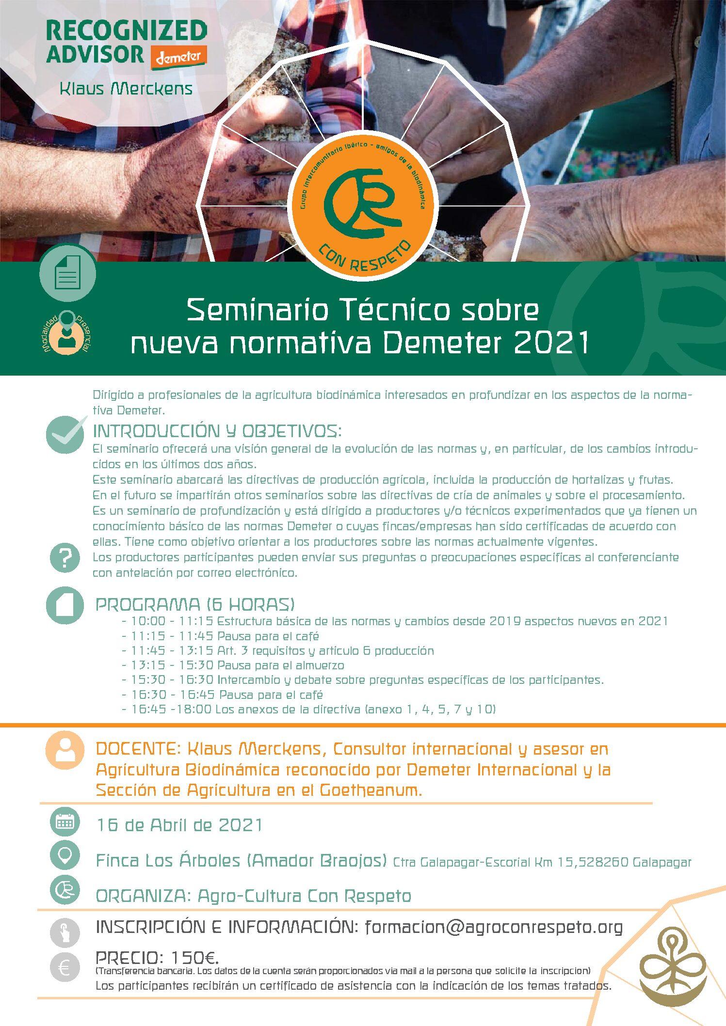 II-SEMINARIO TÉCNICO SOBRE NUEVA NORMATIVA DEMETER 2021